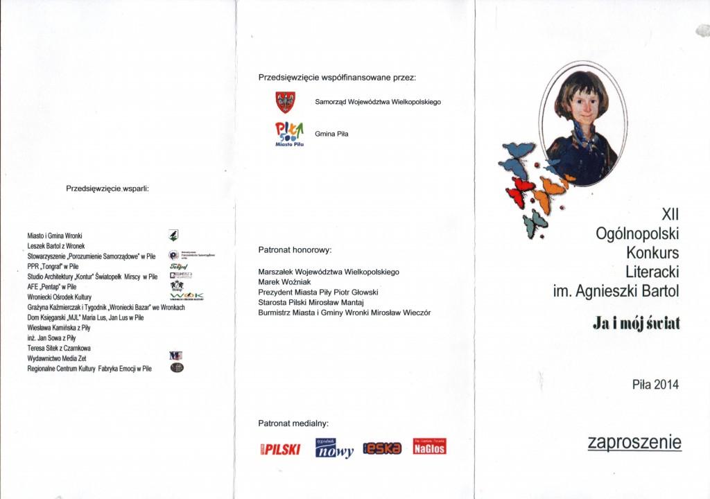 2014 zaproszenie - 12 konkurs Agnieszki 1 str